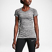 Womens Nike Dri-FIT Knit Short Sleeve Technical Tops - Black/Heather L
