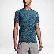 Mens Nike Dri-Fit Knit Short Sleeve Technical Tops - Black/Vivid Sky S