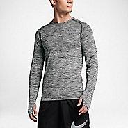 Mens Nike Dri-Fit Knit Long Sleeve Technical Tops - Black/Heather M