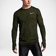 Mens Nike Dri-Fit Knit Long Sleeve Technical Tops - Paramount Blue/Green XL