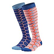Nike Kids Cushion Graphic Over The Calf 2 pack Socks - Pink Multi S