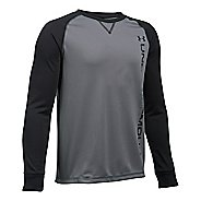 Under Armour Boys Waffle Crew Long Sleeve Technical Tops - Graphite/Black YS