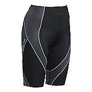 Womens CW-X Endurance Pro Compression & Fitted Shorts - Black/Grey/Turquoise M