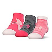 Under Armour Kids Next Statement No Show 3 pack Socks - Gala Pink L