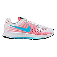 Kids Nike Air Zoom Pegasus 34 Running Shoe - White/Pink 1Y
