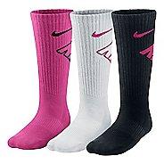 Nike Kids Graphic Performance Cushion Crew 3 pack Socks - Pink/White/Black S