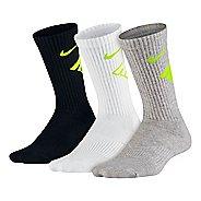 Nike Kids Graphic Performance Cushion Crew 3 pack Socks - Black/White/Grey S