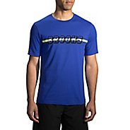 Mens Brooks T-Shirt Short Sleeve Non-Technical Tops - Heather Cobalt XS