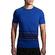 Mens Brooks Distance Printed Short Sleeve Technical Tops - Cobalt/Black XS