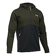 Mens Under Armour Spring Swacket Full-Zip Running Jackets - Army Green/Black L