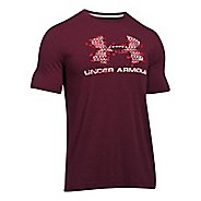 Mens Under Armour Sportstyle Blow Out Logo Short Sleeve Technical Tops - Maroon Heather/Red L