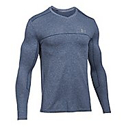 Mens Under Armour Threadborne Seamless Run Long Sleeve Technical Tops - Blackout Navy XL