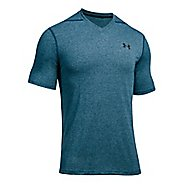 Mens Under Armour Threadborne V-Neck Short Sleeve Technical Tops - True Ink XXL