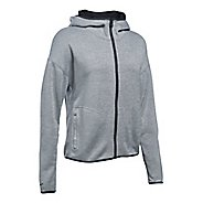 Womens Under Armour Double Threat Swacket Cold Weather Jackets - Grey/Black L