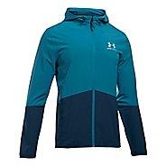 Mens Under Armour Sportstyle Wave Running Jackets - Bayou Blue/Academy XXL
