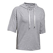 Womens Under Armour Favorite Mesh Oversized Hoodie Short Sleeve Technical Tops - Grey/White XL