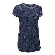 Womens Under Armour Favorite Mesh Tee Short Sleeve Technical Tops - Navy/Carbon S