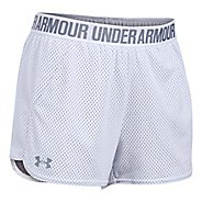 Womens Under Armour Mesh Play Up Unlined Shorts - White/Steel M