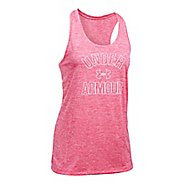 Womens Under Armour PS Wordmark Twist Sleeveless & Tank Tops Technical Tops - Pink Shock L