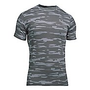 Mens Under Armour Threadborne Run Mesh Short Sleeve Technical Tops - Stealth Grey/Black L