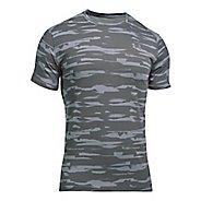 Mens Under Armour Threadborne Run Mesh Short Sleeve Technical Tops - Stealth Grey/Black XXL