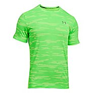 Mens Under Armour Threadborne Run Mesh Short Sleeve Technical Tops - Quirky Lime M