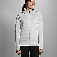 Womens Brooks Fly-By Hoodie Running Jackets - Heather Sterling M