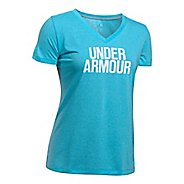 Womens Under Armour Threadborne Train Wordmark V Twist  Technical Tops - Blues/White L