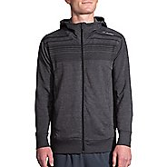 Mens Brooks Distance Half-Zips & Hoodies Technical Tops - Heather Black/Stripe XL