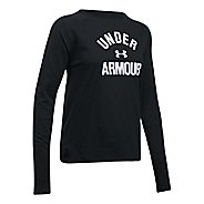 Womens Under Armour Tri-Blend Graphic Long Sleeve Technical Tops - Black/White S