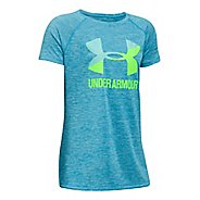Under Armour Girls Novelty Big LogoTee Short Sleeve Technical Tops - Blue Shift /Infinity YL