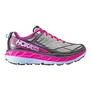 Womens Hoka One One Stinson ATR 4 Trail Running Shoe - Grey/Pink 6.5