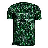 Under Armour Boys Big Logo Hybrid 2.0 Printed T Short Sleeve Technical Tops - Lime Twist/White YXL