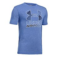 Under Armour Boys Big Logo Hybrid 2.0 Tee Short Sleeve Technical Tops - Ultra Blue/White YXL