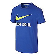 Nike Boys Just Do It Swoosh Tee Short Sleeve Technical Tops - Game Royal/Volt YXL