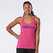 Womens Road Runner Sports Earn It Graphic Sleeveless & Tank Technical Tops - Heather Dynamo Pink S