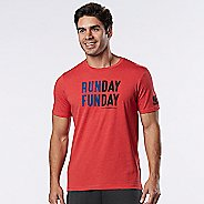 Mens Road Runner Sports Run Day Fun Day Graphic Short Sleeve Technical Tops - Heather Red Zone M
