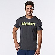 Mens Road Runner Sports Earn It Graphic Short Sleeve Technical Tops - Heather Charcoal L