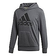 Mens adidas Essential Linear French Terry Half-Zips & Hoodies Technical Tops - Dark Grey Heather L