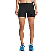 Womens Saucony Bullet Tight Unlined Shorts - Black L