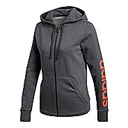 Womens adidas Essential Linear Full-Zip Casual Jackets - Dark Grey Heather L