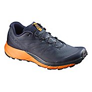 Mens Salomon Sense Ride Trail Running Shoe - Navy/Orange 10