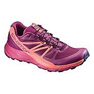 Womens Salomon Sense Ride Trail Running Shoe - Sangria/Coral/Pink 11