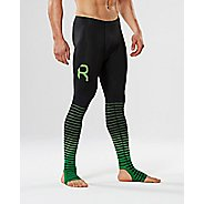 Mens 2XU Elite Recovery Compression Tights - Black/Green XS