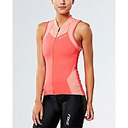 Womens 2XU X-VENT Multisport Tri Singlet Sleeveless & Tank Tops Technical Tops - Coral/Desert ...