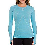 Womens Zensah Run Seamless Long Sleeve Technical Tops - Heather Aqua L