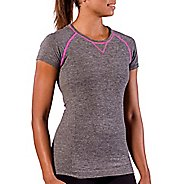 Womens Zensah Run Seamless Short Sleeve Technical Tops - Heather Grey M