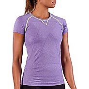 Womens Zensah Run Seamless Short Sleeve Technical Tops - Heather Purple S