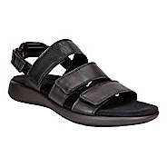 Womens Ecco Soft 5 3-Strap Sandals Shoe - Black 38