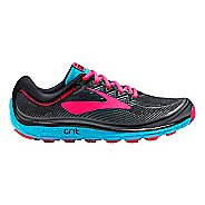 Womens Brooks PureGrit 6 Trail Running Shoe - Black/Pink 8.5